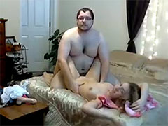 Fat guy fucks his lovely young fiance at webcam