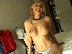 Cute faced blonde sucking and fucking in the bedroom by husband