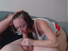 Short haired wife force fucked in the mouth at cam